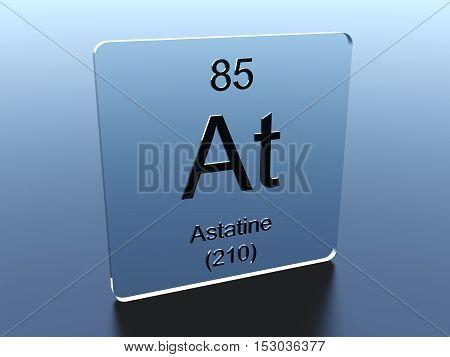Astatine symbol on a glass square 3D render