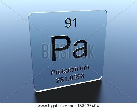 Protactinium symbol on a glass square 3D render