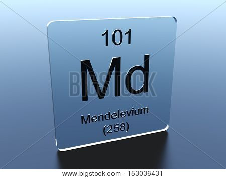 Mendelevium symbol on a glass square 3D render