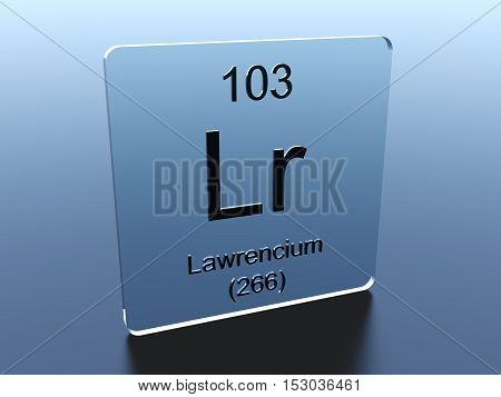 Lawrencium symbol on a glass square 3D render