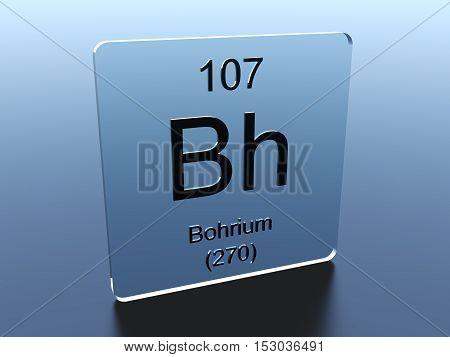 Bohrium symbol on a glass square 3D render