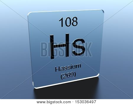 Hassium symbol on a glass square 3D render