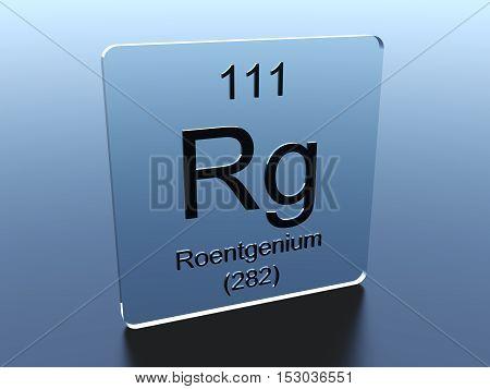 Roentgenium symbol on a glass square 3D render