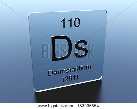 Darmstadtium symbol on a glass square 3D render