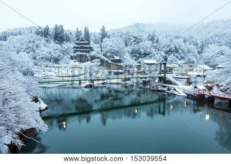 Winter Landcape with lake and village in Japan