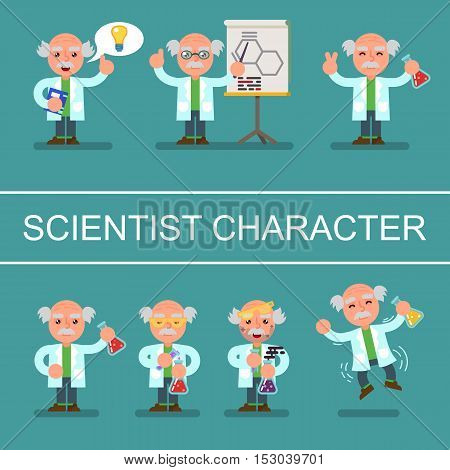 Mad cute flat Professor scientist doctor set vector illustration eps10