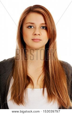 Portrait of teenage woman with serious face