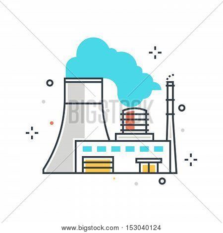 Color Line, Power Plant Concept Illustration, Icon