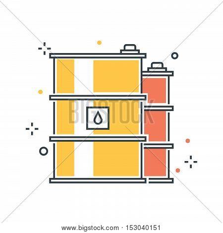 Color Line, Oil Barrel Concept Illustration, Icon