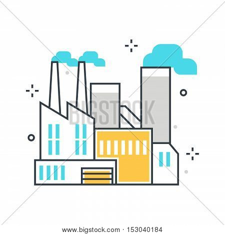 Color Line, Factory Building Concept Illustration, Icon