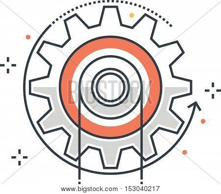 Color Line, Energy, Cog Concept Illustration, Icon
