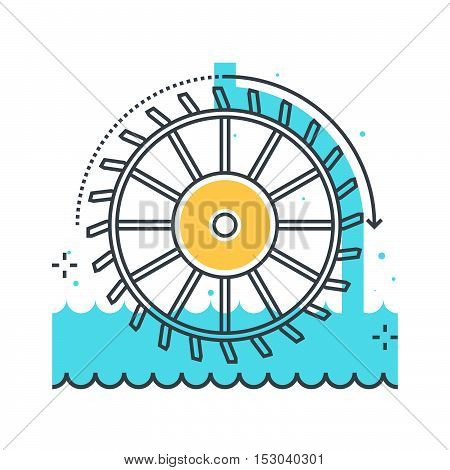 Color Line, Hydro Power Illustration, Icon