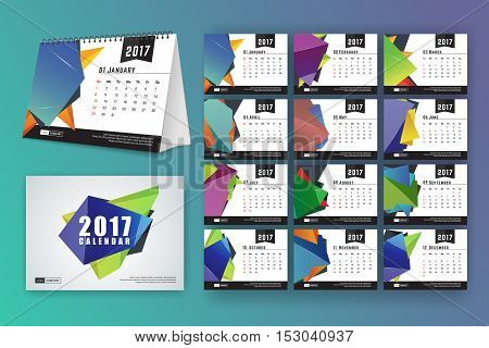 12 month desk calendar template for print design with abstract polygon background. 2017 calendar design start with Sunday. 7x5 inches size with bleeds vector illustration