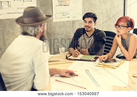 Design Studio Architect Creative Occupation Meeting Blueprint Concept