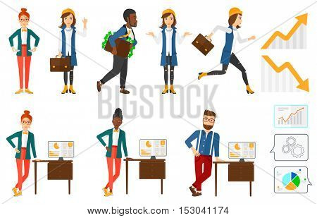Businessman with briefcase full of money committing economic crime. Businessman stealing money. White collar crime, economic crime concept. Set of vector illustrations isolated on white background.
