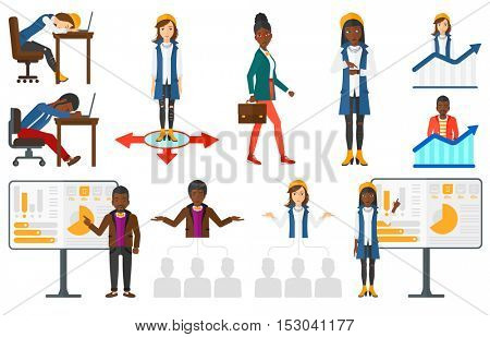 Confident office worker giving a business presentation. Tired office worker sleeping at workplace. Office worker standing on the growth chart. Set of vector illustrations isolated on white background.