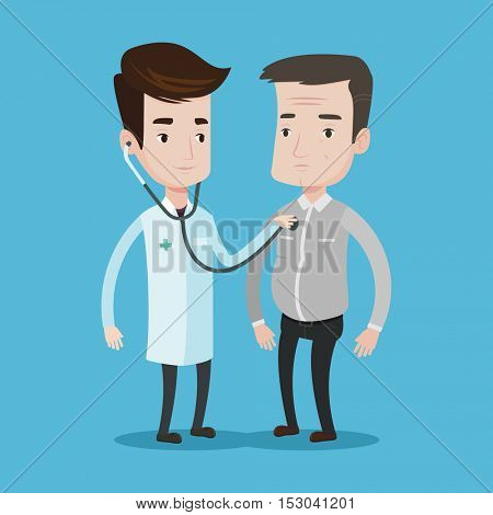 Young caucasian doctor listening to chest of patient with stethoscope. Male patient visiting doctor. Doctor examining chest of an adult male patient. Vector flat design illustration. Square layout.