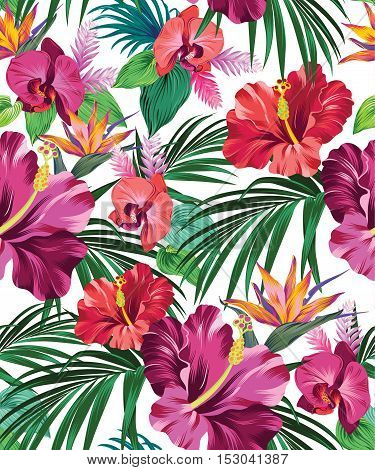 Detailed tropical pattern with beautiful flowers. seamless vector design. hibiscus, orchid, palm, bird of paradise, in vintage aloha style.