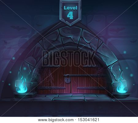 Magic door in the next 4th level. For web video games user interface design.