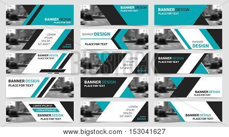 Big set of blue horizontal business banner templates. Modern technology design, abstract background layout. Vector, eps10