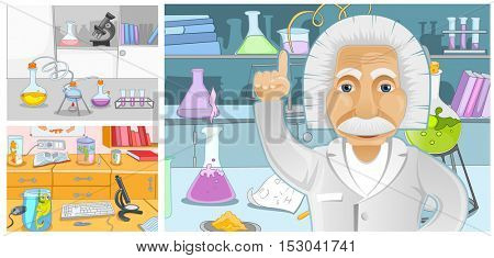 Hand drawn cartoon set of chemical laboratory. Colourful cartoons of backgrounds of chemical laboratory. Vector cartoon set with chemical laboratory with measuring equipment, test tubes, scientist.