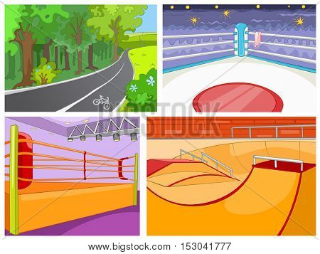 Hand drawn vector cartoon set of sport infrastructure. Cartoon background of playground for skateboard. Cartoon background of boxing ring. Cartoon background of bicycle lane in the park.