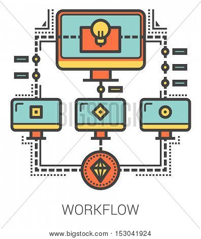 Workflow infographic metaphor with line icons. Project workflow concept for website and infographics. Vector line art icon isolated on white background.
