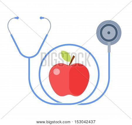 The stethoscope and an apple. Healthy food and lifestyle concept. Flat illustration of a fresh fruit and a phonendoscope. Vector design elements for healthcare medical infographic presentation.