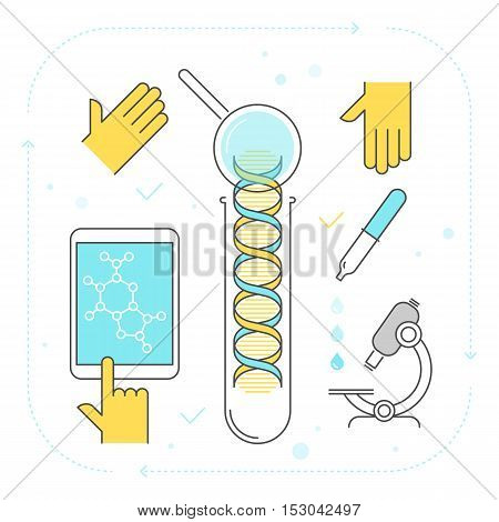 Contour vector concept of dna test process. Flat line illustration of chemical laboratory equipment and science research. Design elements: test-tube microscope for medicine and biology infographic.