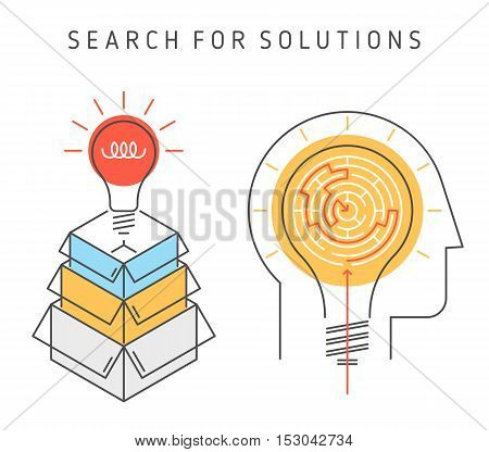 Thinking and searching for solution process. Contour flat line illustration of bulb-idea from boxes and a head with lamp and maze inside. A ways a problem decision concept. Outline vector infographic.