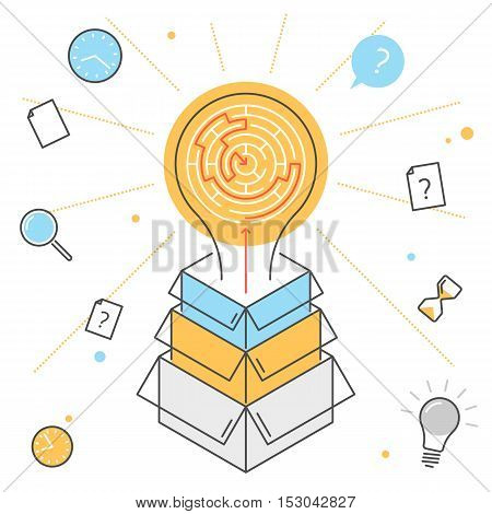 Searching for idea and strategy process. Contour flat line illustration of bulb with maze inside from boxes. A way the problem and task decision and solution. Outline vector infographic concept.