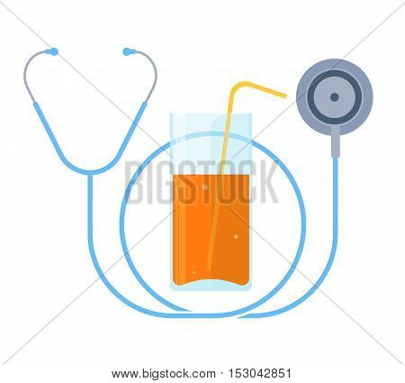 The stethoscope and a glass of juice. Healthy food and lifestyle concept. Flat illustration of a fresh fruit drink and a phonendoscope. Vector design elements for healthcare medical infographics.