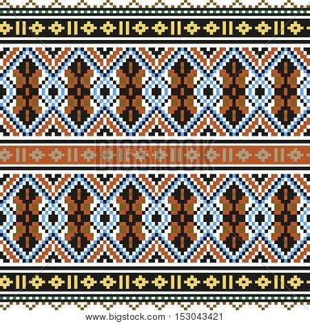 Trendy, contemporary ethnic seamless pattern, embroidery cross, squares diamonds chevrons