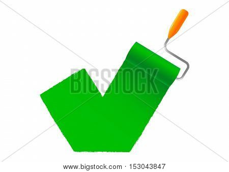 Green paint roller Icon on white background isolated