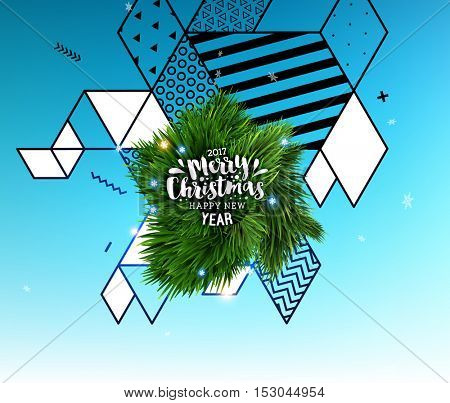 Christmas Design and Elements for Christmas and New Year 2017 Invitations, Placards, Flyers, Posters and Banners - Vector Illustration