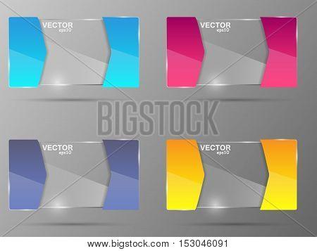 Glass banner set. Design template. Vector illustration
