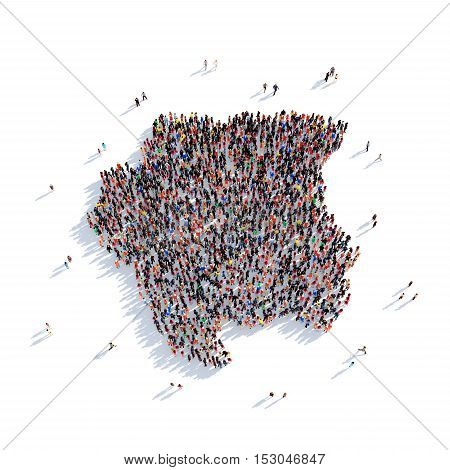 Large and creative group of people gathered together in the form of a map Suriname, a map of the world. 3D illustration, isolated against a white background. 3D-rendering.