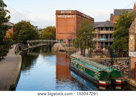 NOTTINGHAM ENGLAND - OCTOBER 19: Nottingham canal and British Waterways building. In Nottingham England. On 19th October 2016.
