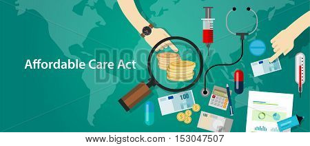 Affordable care act ACA Obama Care health insurance program vector
