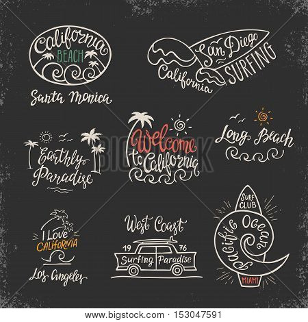 Vector set of logos, badges and emblems with hand inscription California beach on a black background. Illustration for posters, t-shirts, bags and other.