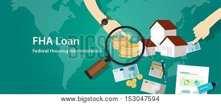 FHA Loan Federal Housing Administration vector home buy