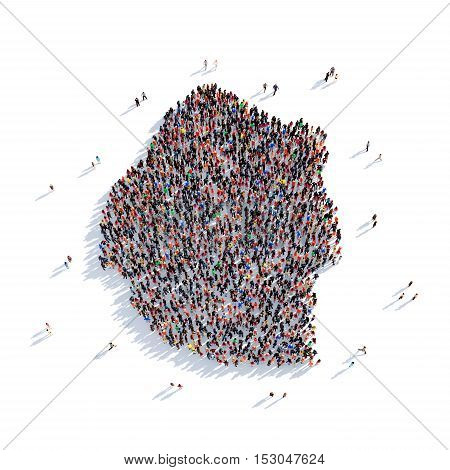 Large and creative group of people gathered together in the form of a map Swaziland, a map of the world. 3D illustration, isolated against a white background. 3D-rendering.