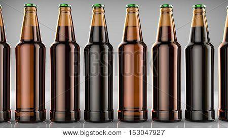 Close up bottles of beer on a gray background. 3d illustration.