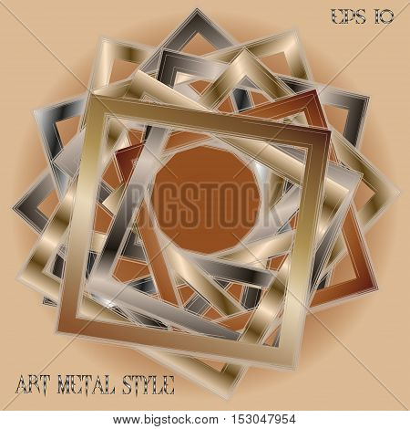 Frame art metal style Abstract designer image many object square with sets efekt handmade work of the author's background text vector illustration eps10 stock