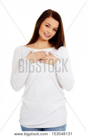 Portrait of happy smiling beautiful young woman