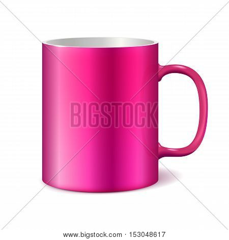 Pink cup isolated on white background. Blank cup for branding. Photorealistic vector template