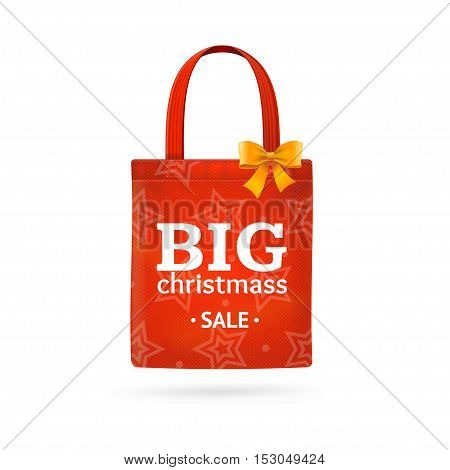 Christmass Sale Fabric Cloth Bag Tote. Best Offer. Vector illustration