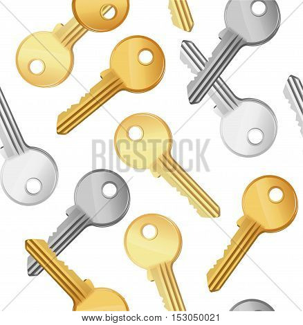 Golden and Silver Key Falling Background Pattern. Symbol of Security or Privacy Vector illustration