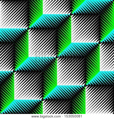 Seamless Cube Pattern. Abstract Wrapping Background. Vector Regular Geometric Texture. 3d Psychedelic Design. Minimal Line Design
