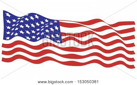 Illustration of a waving flag of the United States of America